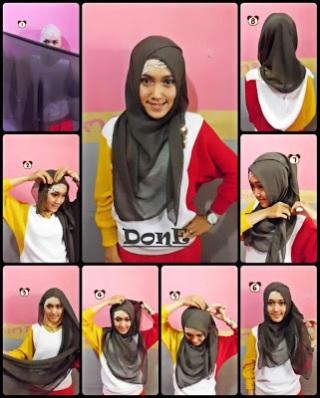 cara memakai jilbab paris terbaru